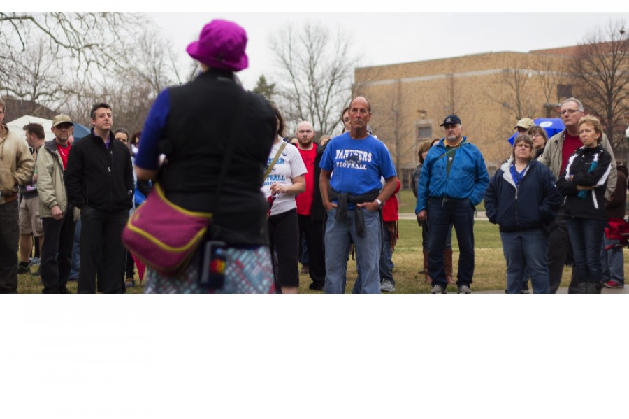 Women%27s+studies+coordinator+Jeannie+Ludlow+speaks+to+participants+of+the+Red+Flag+March+on+March+9+in+front+of+the+steps+of+the+Doudna+FIne+Arts+Center