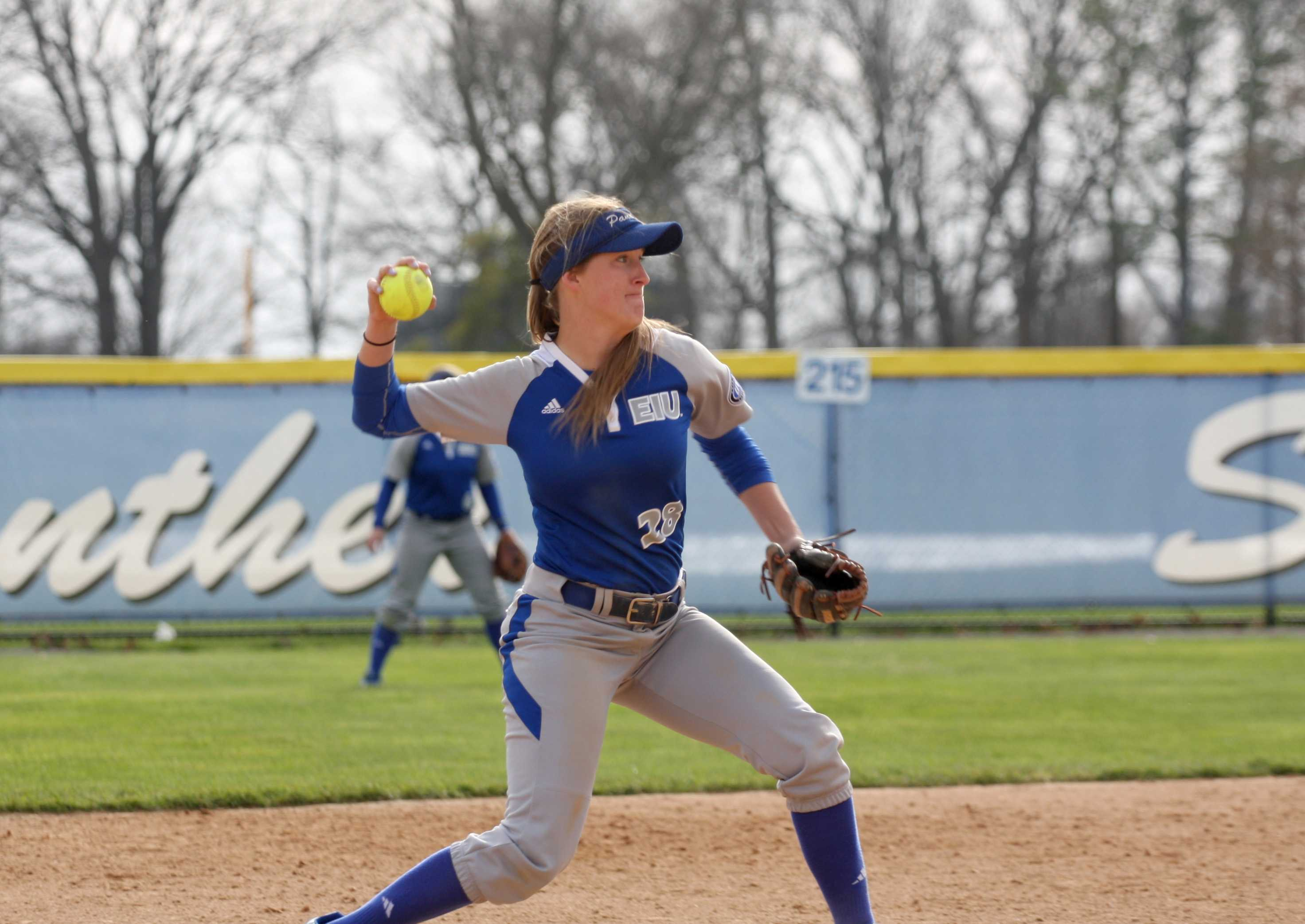Senior shortstop Katie Watson throws the ball to first base for the out March 22. at Williams Field.