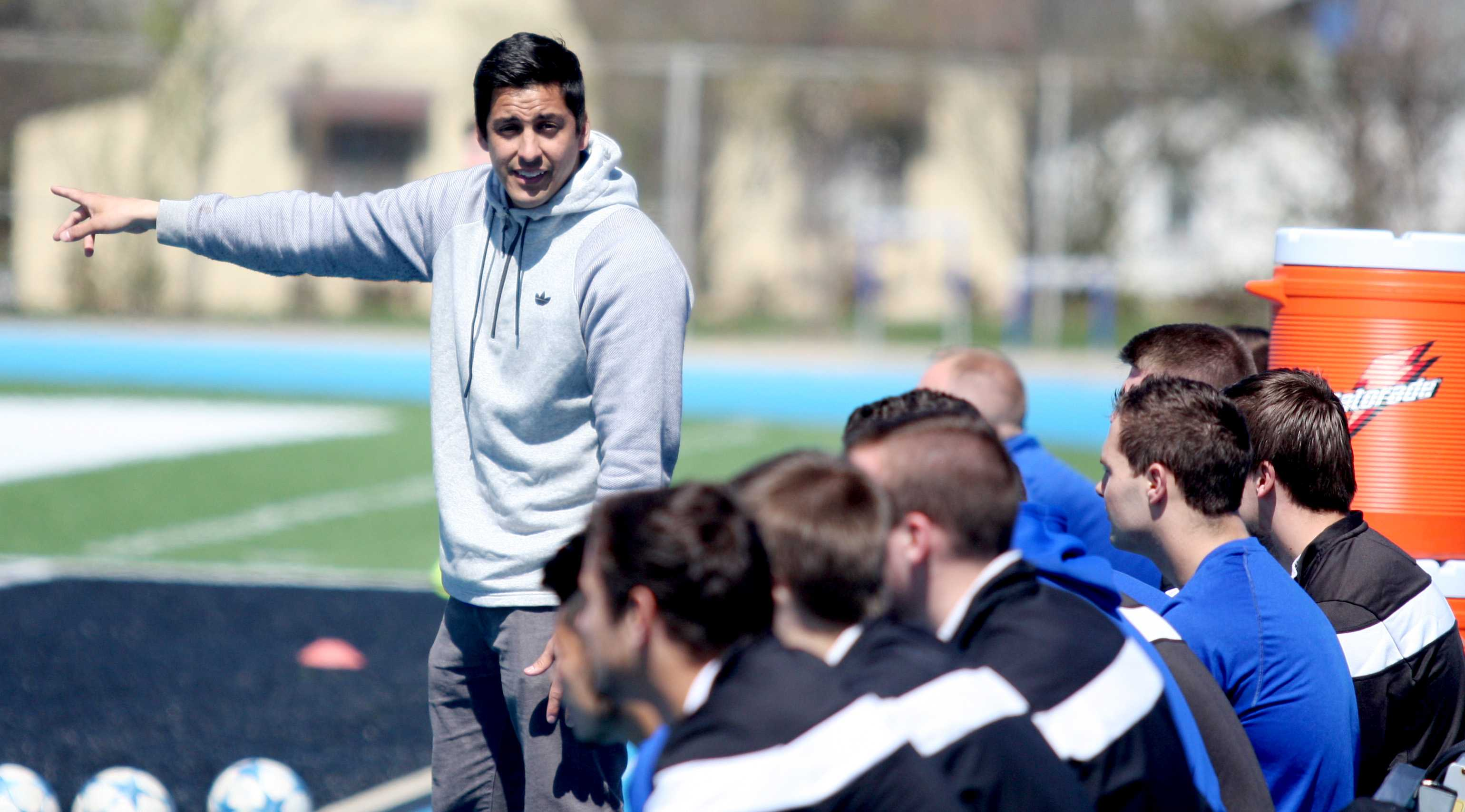 Sean Hastings | The Daily Eastern News| Coach Kiki Lara directs the men's soccer team Saturday during the game against Western at O'Brien Field. Lara is the coach of both the men's and women's team.