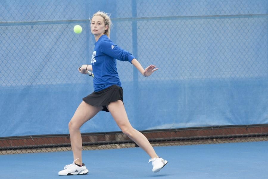 Senior Ali Foster defeated Belmont's Kendall Warren 6-4, 6-3 in singles play on April 1 at the Darling Courts. Foster defeated Southern Illinois-Edwardsville's Mia Frogner 6-4. 6-3 in singles competition on Wednesday in Terra Haute, Ind.
