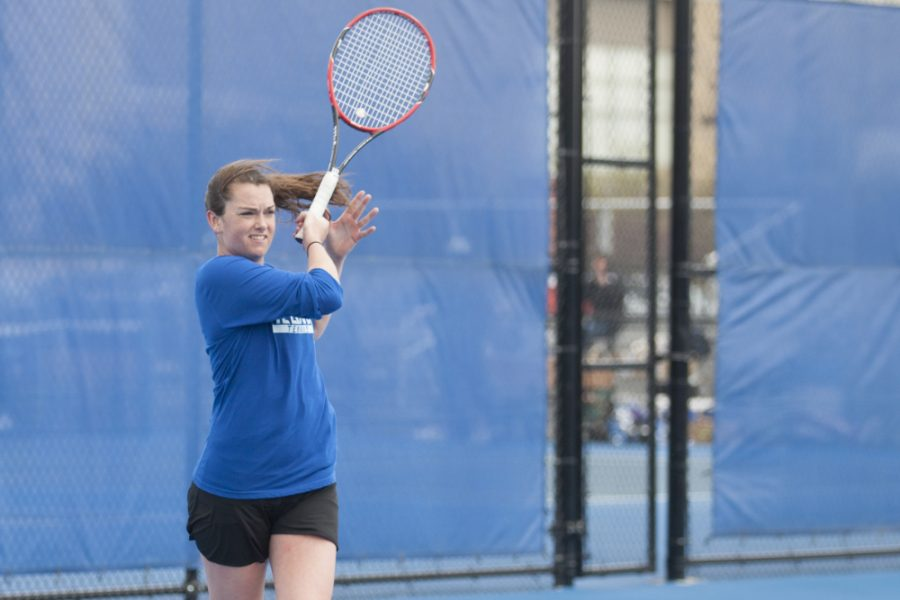 Freshman Abby Carpenter defeated Belmont's Mical Johnson 2-6, 6-2, 10-4 in singles play on April 1 at the Darling Courts. Carpenter accrued a 7-2 overall record during the regular season.