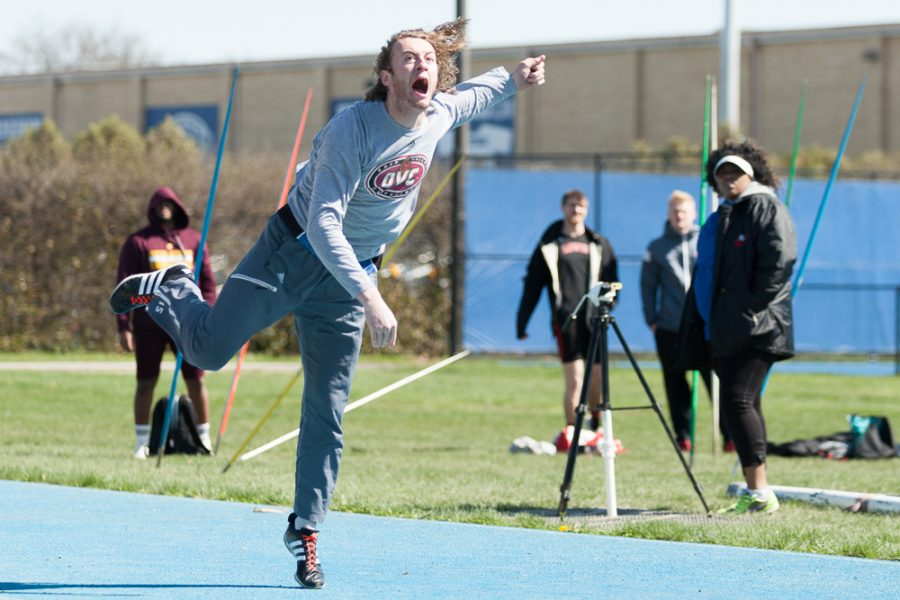 Senior+pole-vaulter+Eric+Gordon+finishes+in+fourth+place+of+the+javelin+throw+event+during+the+EIU+Big+Blue+Classic+on+April+2.+The+men+and+women+both+finished+first.