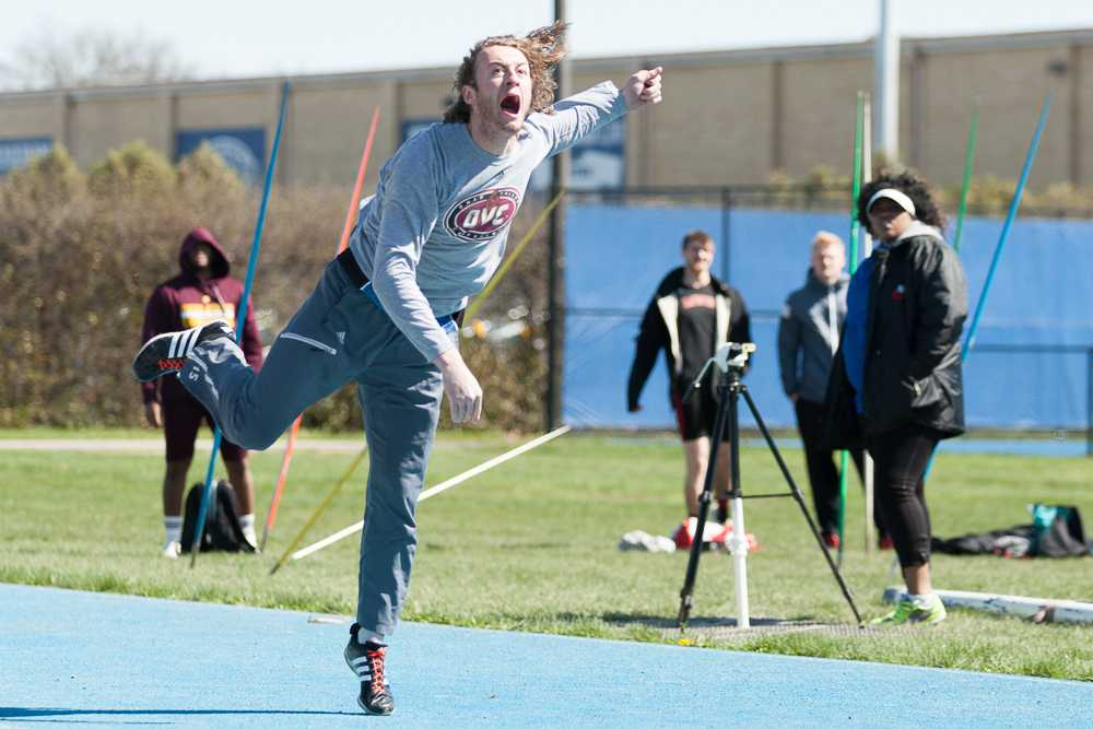Senior pole-vaulter Eric Gordon finishes in fourth place of the javelin throw event during the EIU Big Blue Classic on April 2. The men and women both finished first.