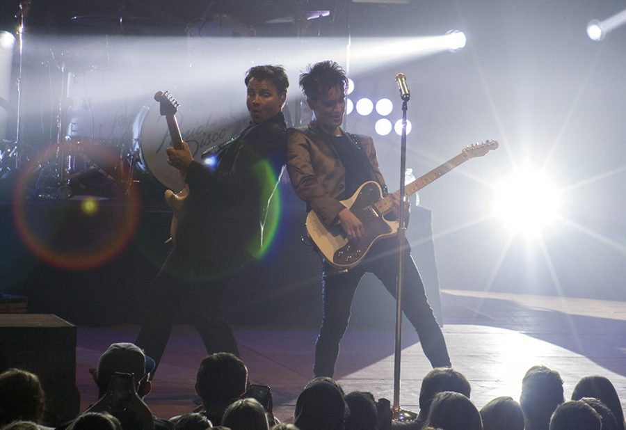 Cassie Buchman | The Daily Eastern News Panic! at the Disco perform during the Spring Concert Friday in Lantz Arena.