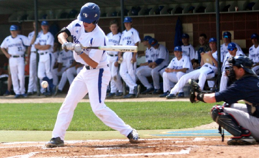 Sophomore Cale Hennemann bats during the Panthers game against Belmont Friday at Coaches Stadium. The Panthers fell to the Bruins, 21-9.