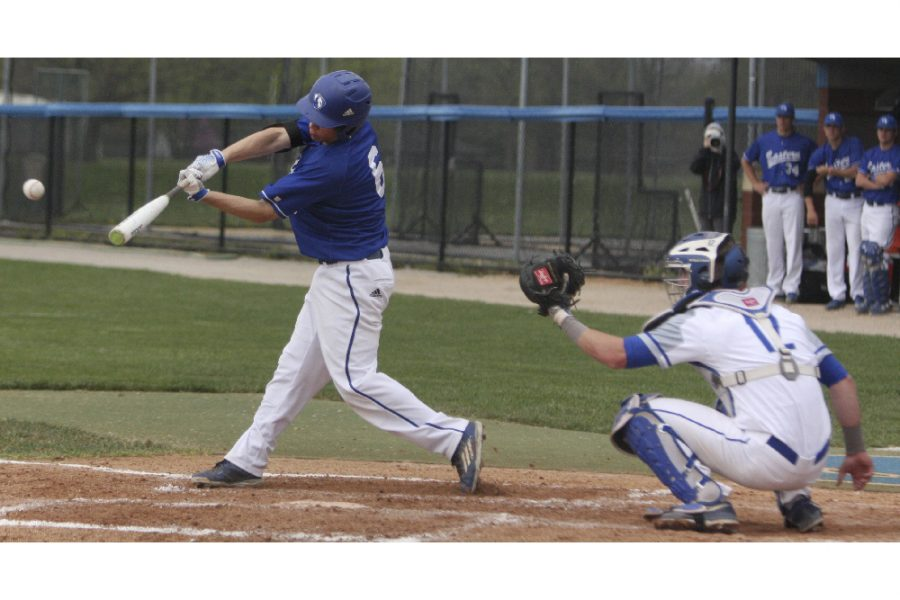 Cale+Hennemann+hits+a+double+to+left+center+to+lead+off+the+third+inning+Wednesday+against+Illinois+College+at+Coaches+Stadium.+Hennemann+hit+a+walk-off+single+in+the+10th+inning+to+win.+
