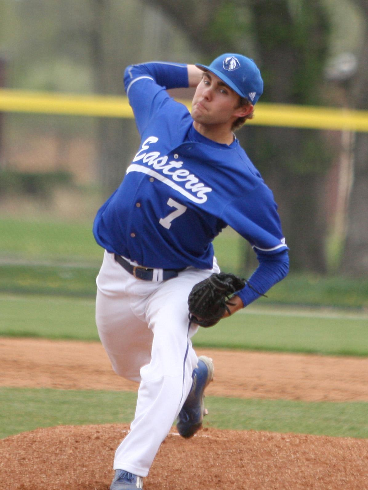 Sophomore Ben Hughes fires a pitch Wednesday afternoon against Illinois College. Hughes pitched four innings and allowed one run in the Panthers' 7-6 win.