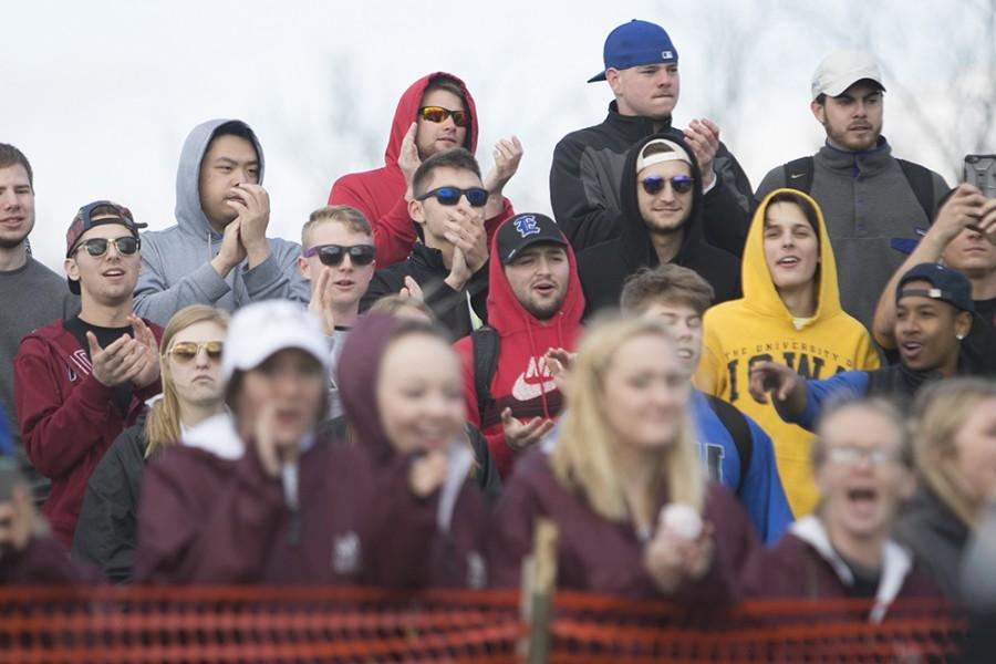 Crowd members cheer on the members of Delta Zeta as they compete against Alpha Gamma Delta Monday.