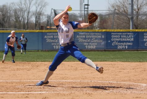 Sophomore Jessica Wireman fires a pitch Sunday against Austin Peay. Wireman threw two shutouts over the weekend.