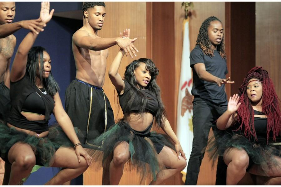 Members of the African Student Association dance at the ASA fashion show Friday evening in the Grand Ballroom of the MLK Jr. University Union.