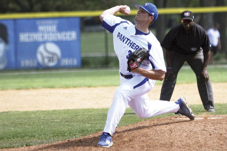Junior Jake Haberer pitches during the Panthers game against Belmont Sunday at Coaches Stadium. The Panthers lost 6-1 and fell to 7-33 on the season. Eastern will play St. Louis Tuesday at Coaches Stadium.