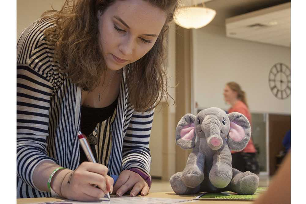 Kelsea Higgins, a freshman accounting major, fills out an adoption certificate for the stuff-a-bear she made Thursday in the University Ballroom during Pantherstock.