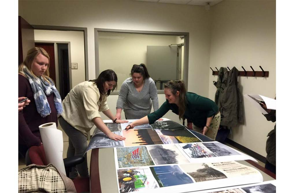 Multiple students volunteer to be apart of the exhibition team. They are responsible for building the parts for all of the artwork displayed in the 'Making Illinois' exhibit.
