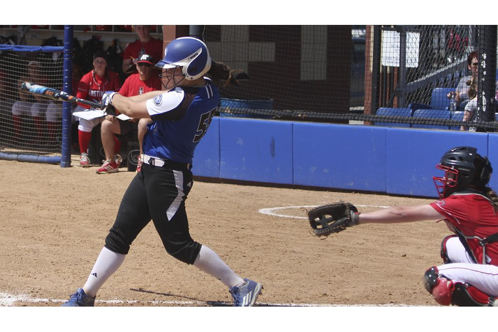 Senior Kylie Bennett singles up the middle against Austin Peay April 16 at Williams Field.