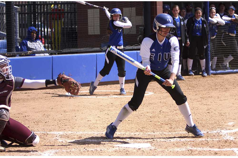 Designated hitter Jennifer Ames bats during game 1 of a doubleheader against Eastern Kentucky Saturday at Williams Field. The Panthers won 1-0 in 12 innings.