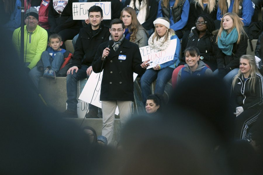 Junior political science major Austin Mejdrich addresses those assembled at the FundEIU rally on Feb. 5 on the Library Quad.