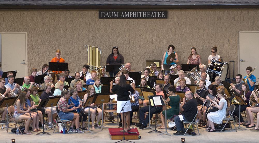 "The Charleston Community band plays the theme from ""Jack,"" which is an old TV show, June 2 during their opening concert at Kiwanis Park. The band will continue to hold concerts at 7:30 for the next five Thursdays."