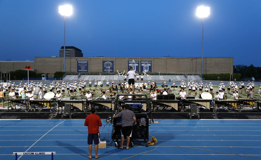The Cavaliers Drum and Bugle Corp performed for the public and had their last practice at O'Brien field Saturday night. They travel the country performing and competing against other Corps in the nation.