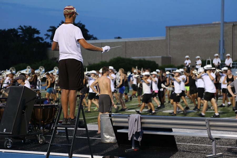 The Cavaliers Drum and Bugle Corp held their last practice on O'Brien field Saturday night. They travel the country practicing and performing, some performances reaching up to 30000 fans.