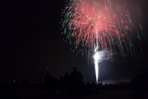 Fireworks light up the sky at the Coles County Memorial Airport on Monday.