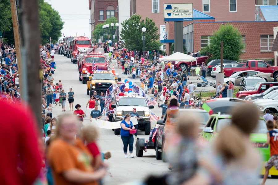The parade makes its way down down Sixth Street on Monday.