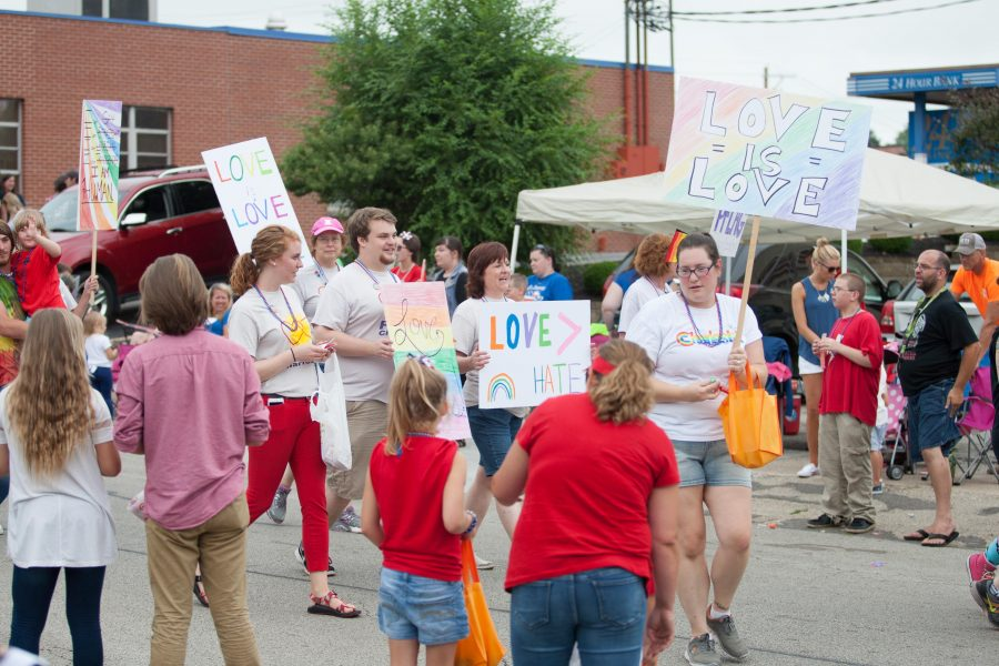 Members of the Charleston chapter of PFLAG march in the parade on Monday.