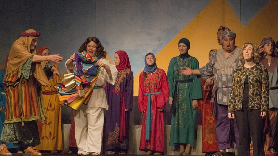 """Members of Central Illinois Stage Company run through """"Joseph and the Amazing Technicolor Dreamcoat"""" during their last dress rehearsal Monday at the Salisbury Church. The group will be performing the Andrew Lloyd Weber classic Wednesday-Friday at 7:30 p.m. with an addition 2 p.m. performance on and Saturday and Sunday."""