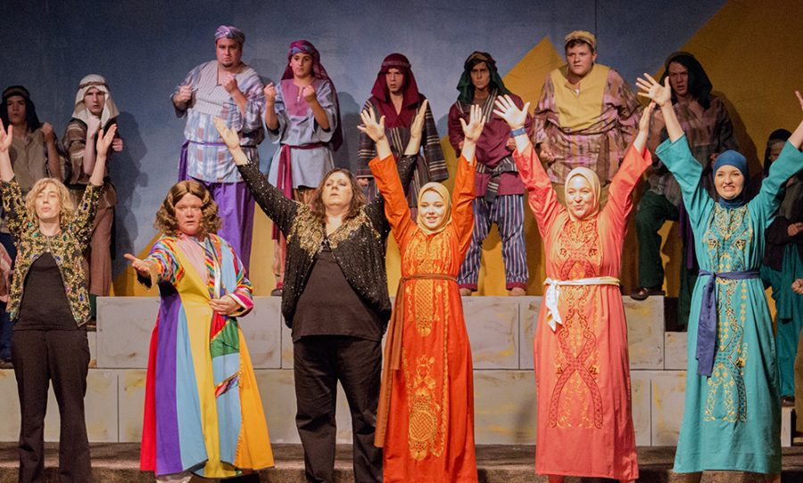 """Members of Central Illinois Stage Company perform """"Joseph's Coat"""" during their last dress rehearsal Monday. This group will be performing """"Joseph and the Amazing Technicolored Dreamcoat"""" Wednesday-Friday at 7:30 p.m. and Saturday at 2:30 p.m. as well as 7:30 p.m."""