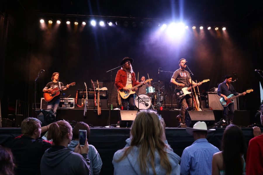 Country music band The Brothers Osborne performs during the Red, White, and Blue Days festivities on Sunday at Morton Park.