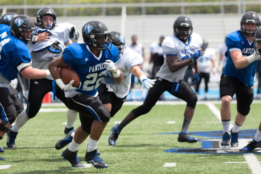 ed-shirt senior running back Korliss Marshall had 125 yards between receptions and carries during the Panther football team's scrimmage game on Saturday at O'Brien Field. The defense defeated the offense 26-20.