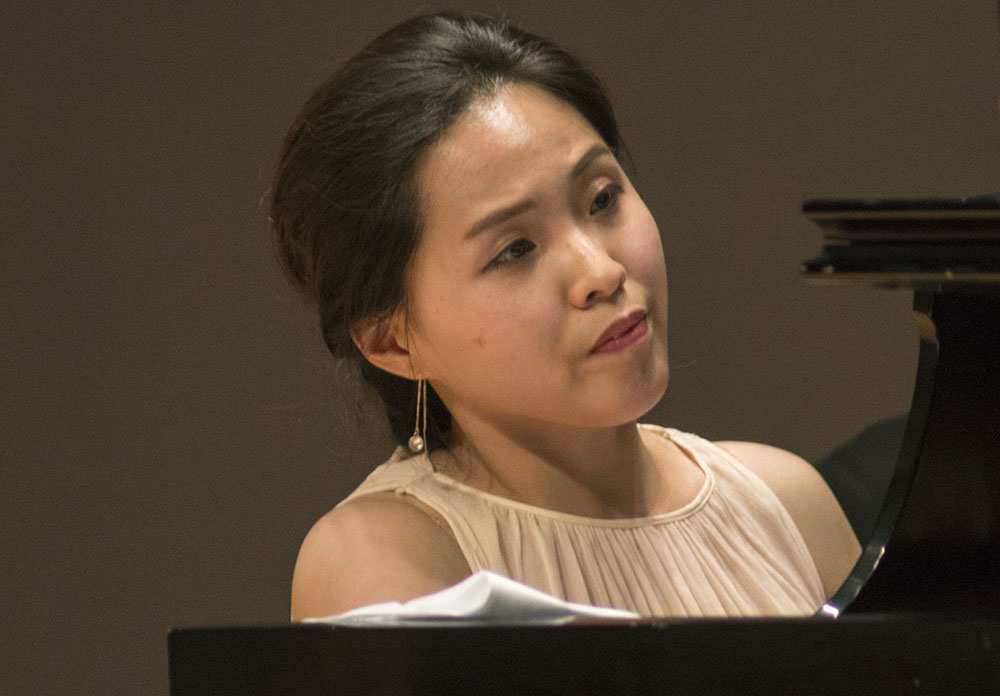 """Marina Hwang, Eastern alumnae, plays """"Spring Sonata"""" during the """"Guest Artist Recital Series"""" in the Recital Hall of the Doudna Fine Arts Center Friday."""
