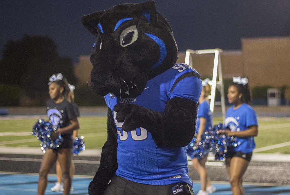 """Billy the Panther dances during """"First Night"""" in OBrien Field Sunday Aug. 21."""