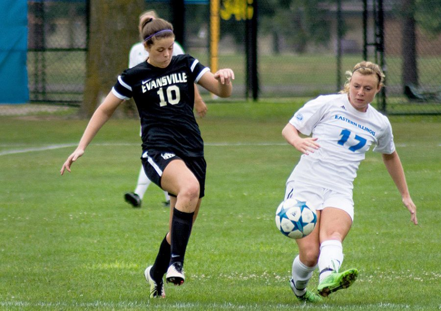 Kathleen Mackinnon, senior forward, advanvces the ball in an exhibition game against Evansville on Sunday. The Panthers tied Evansville, 0-0.