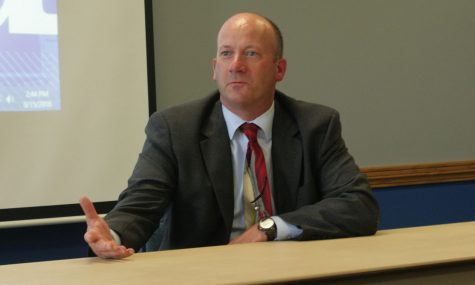 Police chief candidate Kent Martin, who has been serving as interim chief of the University Police Department since June, speaks at an open interviewing session in the Martinsville Room of the Martin Luther King Jr. University Union. Martin addressed how he would outreach to the campus and Charleston community during this session.