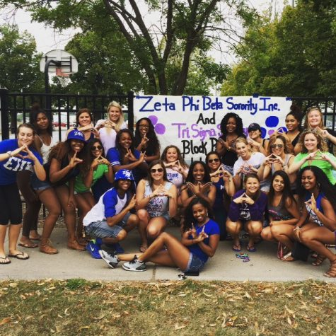 Zeta Phi Beta Sorority Inc. and Tri Sigma Sorority pose together holding up their signiture Greek hand signs at a past block party. Zeta Phi Beta will host another block party August 26, 2016 in Taylor Courts.