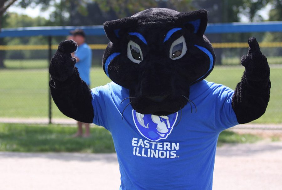 Bryan Bund | The Daily Eastern News Billy the Panther cheers on players at the women's soccer game Sunday at Lakeside Field.