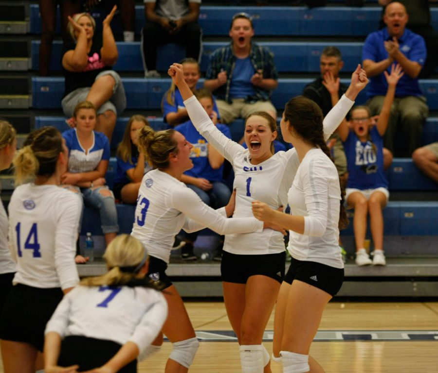 Redshirt junior Josie Winner along with teammates and fans celebrate a point during a match agaisnt Butler on Tuesday, Aug. 30 at Lantz Arena. The Panthers lost 3-2, Winner finished with seven kills, an ace and two blocks.