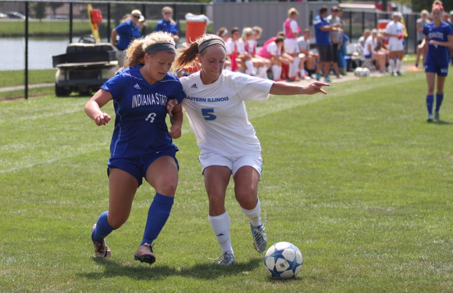 Junior Midfielder Ali Carlson fights for position Sunday against Indiana State at Lakeside Field. The Panthers lost 2-0 to bring their season record to 1-4.