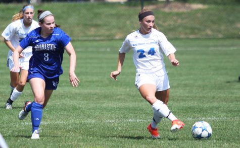 Junior midfielder Madi Fisher advances the ball during a match against Indiana State on Sunday. The Panthers lost to the Sycamores 0-2 to bring seasn record to 1-4.