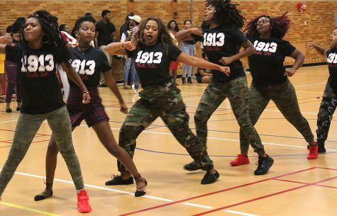 Gabby Bersamin | The Daily Eastern News A group of Delta Sigma Thetas stroll during Meet the Greeks Friday in McAfee Gym.