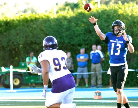 Eastern quarterback Mitch Kimble attempts a pass in the first quarter of the Thursday, Sept. 1 game against Western. Kimble finished with 323 yards passing, completing 18-of-29 attempts and tossing 2 touchdowns in the Panthers' 38-21 loss.