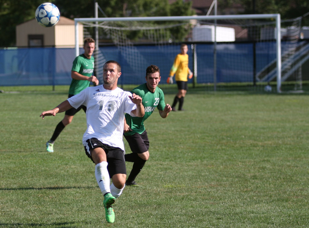 Sophomore forward Trevor Kerns had one shot on goal during the Panthers' 1-0 loss to Marshall University on Sept. 4 at Lakeside Field. After being off for 10 days, the Panthers will take on St. Ambrose at home Wednesday.