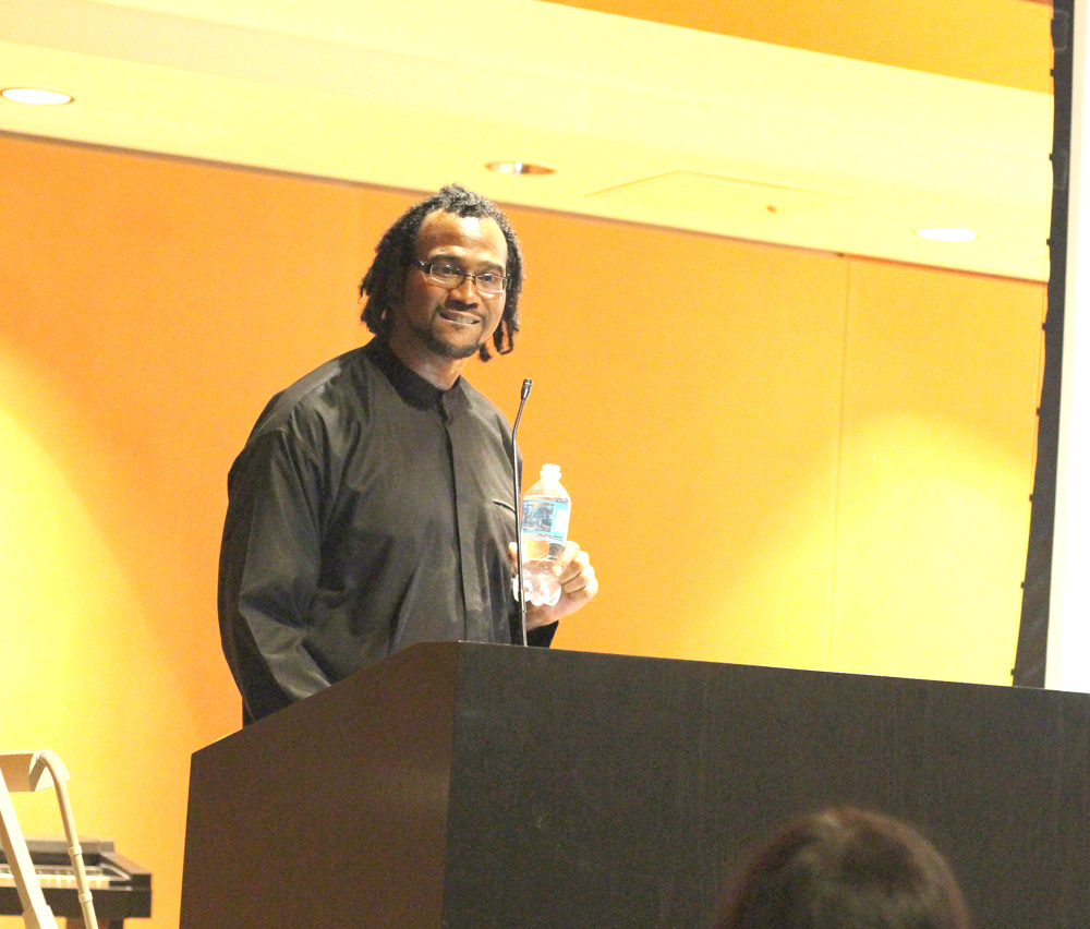 Mansa Bilial Mark King, an associate proffesor of Sociology at Morehouse College in Atlanta discusses how Africana Muslims are marginilized in our society, and the need to end racial injustice in general during a lecture in The Doudna Lecture Hall on Thursday night.
