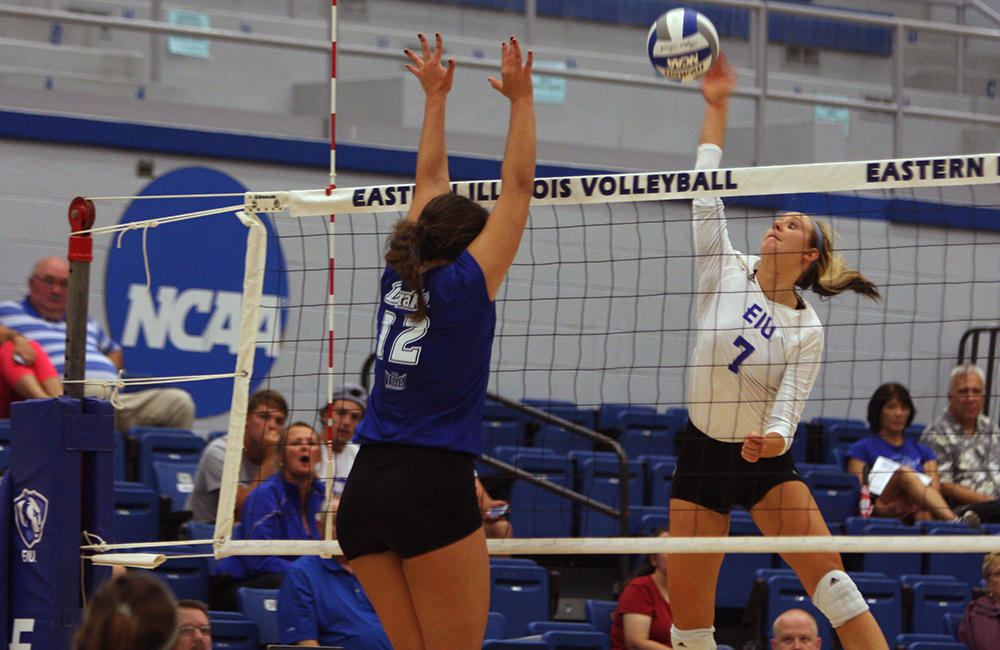 Sophomore outside hitter Taylor Smith kills the ball during the Panthers' match against Drake on Sept. 9, 2016, in Lantz Arena. Eastern lost, 3-1. The Panthers return home tonight to face Belmont.