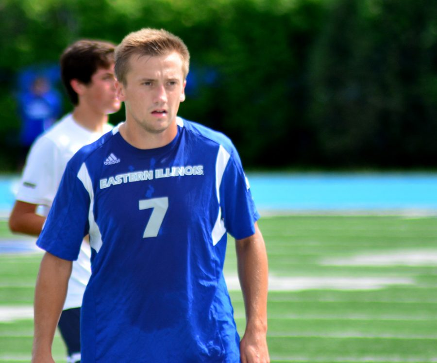 Junior Justin Oliver continuues his collegiete career for coach Kiki Lara and the Eastern men's soccer program despite the recent transfer of twin brother.