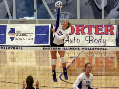 Junior Maria Brown kills the ball against Belmont during the first conference home match Friday at Lantz Arena. The Panthers lost, 3-1.