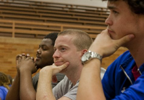 Demarco Owens, a sophomore family and consumer sciences major, John Becker, a senior family and consumer sciences major and Kyle Callahan, a freshman Kinesiology and Sports Studies major represent Weller Hall while awaiting the next question for the history portion of the ROC Fest Trivia Contest.