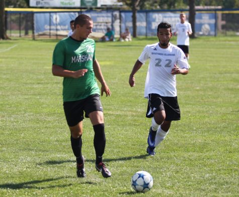 Sophomore Julian Montoya chases after the loose ball on Sunday, Sept. 4 at Lakeside Field agaisnt the Marshall Thundering Herd. Marshall defeated Eastern 1-0 in the match.