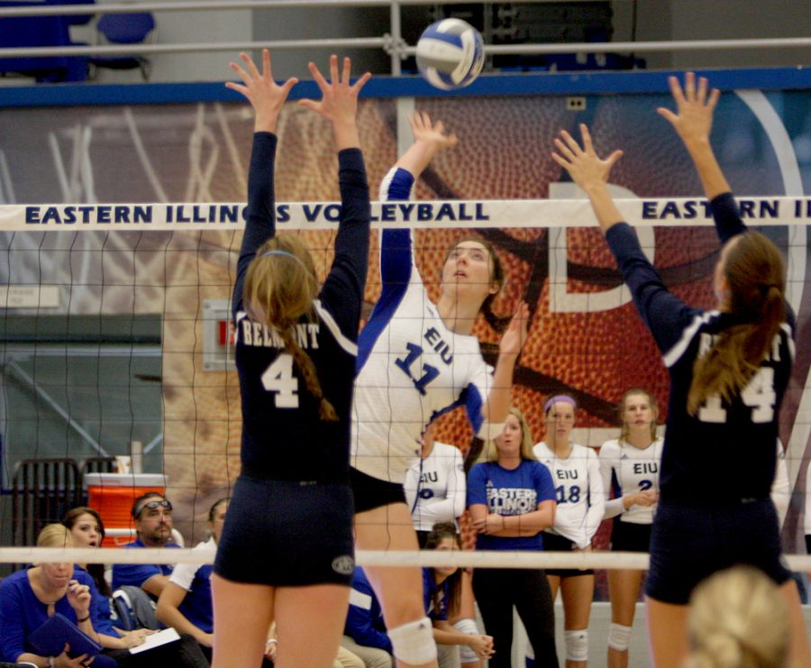 Middlehitter Abby Knight spikes the ball against Belmont defenders Friday at Lantz Arena. The Panthers fell 1-3 in four sets.