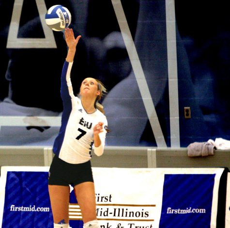 Taylor Smith serves the ball in a match against Belmont on Friday at Lantz Arena.